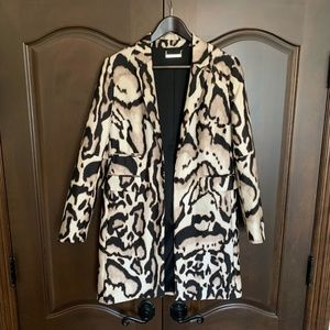 Diane Von Furstenberg Animal Print Long Blazer